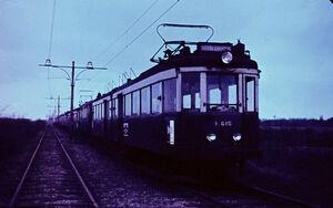 Leiden, blauwe tram, 1960