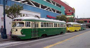 San Francisco F line streetcars at Jones