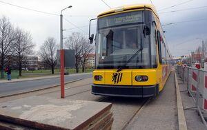 Abzweig nach Reick lijn1 NGT8DD Hoogwater2006voorlopigeindpunt
