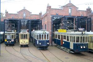 Blauwe Tram - NZH A 327, NZH B 412 en NZH A 106 en Gele Tram HTM 57