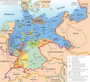 Karte des Deutschen Reiches, Weimarer Republik-Drittes Reich 1919–1937