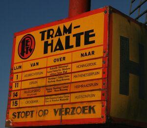 RET tramhaltepaal oud