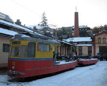 Freight tram in Lviv, Ukraine