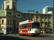 Łodź, Plac Wolnośći, tramvaj Duewag II