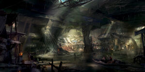 640x320 7251 Underground base 2d characters post apocalyptic boat city underground picture image digital art