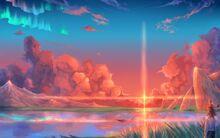 Konachan.com - 154608 animal boat clouds hoshi wo ou kodomo sky sunset water (1)