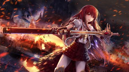Image Battle Zone Warrior Fire Blade Anime Girl Hd Wallpaper