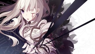 Konachan-com-186626-armor-atha-long hair-original-purple eyes-tattoo-white hair
