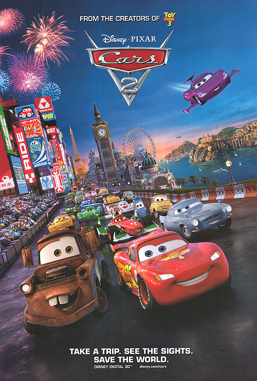 DISNEY PIXAR CARS 2 MOVIE RACING TOKYO NEW 22x34 POSTER ... |Cars Movie Poster Free Candy