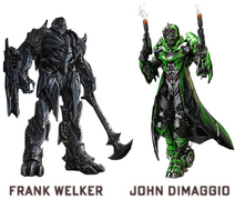 Megatron (Frank Welker) and Crosshairs (John DiMaggio)