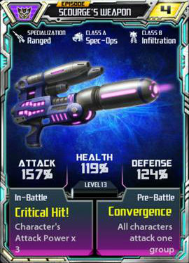 Episode Scourge's weapon
