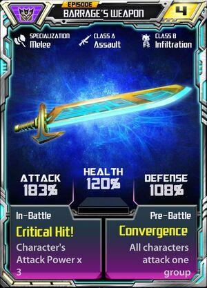 Barrage 1 Weapon