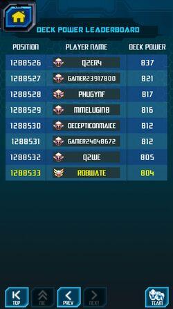 Screenshot by 20362446 - Lowest Deck Power - Ranking