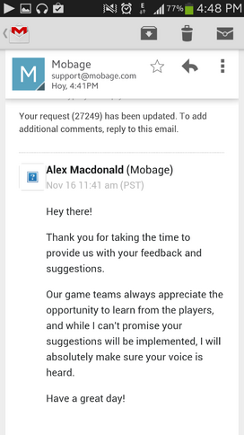 Screenshot by 11165765 - Generic Reply from Mobage - Espionage