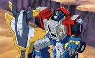 Optimus and Skyboom Shield