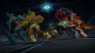Vehicons, Sharkticon and Chompazoid Fight Each Other