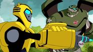 Bulkhead and Bumblebee face Megatron (Animated)