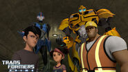 Jack, Miko, Vogel, Arcee and Bumblebee