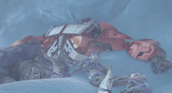 Optimus and Arcee stranded and frozen