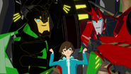 Russell with Grimlock and Sideswipe