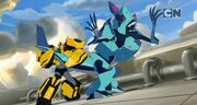 Robots in Disguise Episode 3 Bumblebee Holding Hammerstrike