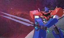 Optimus with the Prime Decepticon Hunter