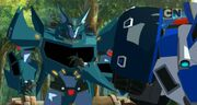 Robots in Disguise Episode 3 Steeljaw Talking to Strongarm