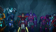 Saberhorn, Glowstrike, Groundpounder, Overload, Thunderhoof and Vehicons