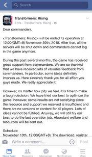 Transformers Rising Closure Message
