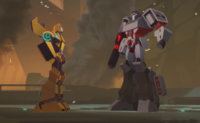 Bumblebee and Megatron Cyberverse