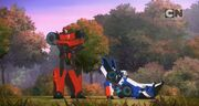 Robots in Disguise Episode 3 Sideswipe and Strongarm Building Trust