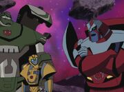 Transformers Animated Bulkhead Bumblebee and Ratchet