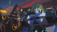 Strongarm, Grimlock and Quillfire in Carnival
