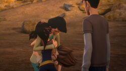 June hugging Miko and Raf