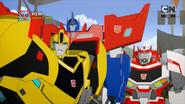 Bumblebee, Ratchet, and Optimus (It begins)