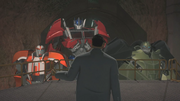 Fowler argues with Optimus Prime (TFP)