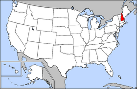 Image Map of USA highlighting New Hampshire