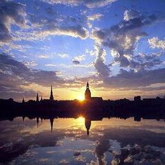 Sunrise above Old Riga.