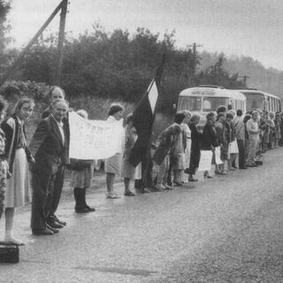 The Baltic Way was a peaceful political demonstration that occurred on August 23, 1989. Approximately 2 million people joined their hands to form a human chain spanning 600 kilometres across the three <a href=