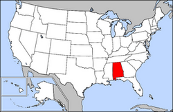 Map of USA highlighting Alabama