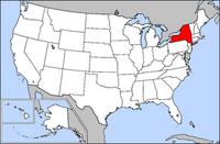 Map of USA highlighting New York