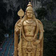 Gigantic statue in front of Hindu temple near KL