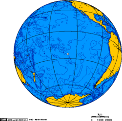 Orthographic projection centred over Pitcairn Island