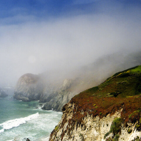 A very well located house in Big Sur, California on a foggy June day.
