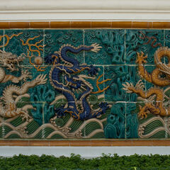 Chinese dragons sculpture on the wall