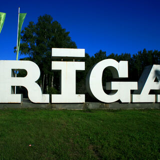 Sign as seen arriving in Riga