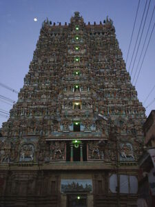 450px-Meenakshi Temple Gopuram at dusk