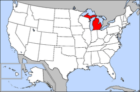 Image Map Of USA Highlighting Michiganpng Wikia Travel - Michigan on a us map