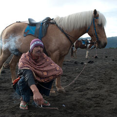 Horseman having cigarette break near Bromo vulcano, Java, Indonesia
