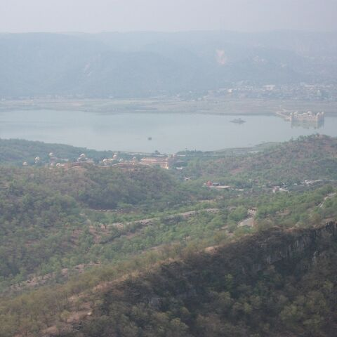 palace on the lake. this picture was taken from Jaigarh fort in Jaipur,India